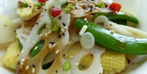 Hungry Empress' Lotus Root Salad with Soy Sesame Ginger Dressing
