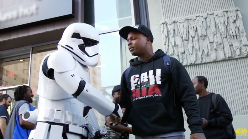 Luke Skywalker Goes Incognito as Storm Trooper on Hollywood Blvd